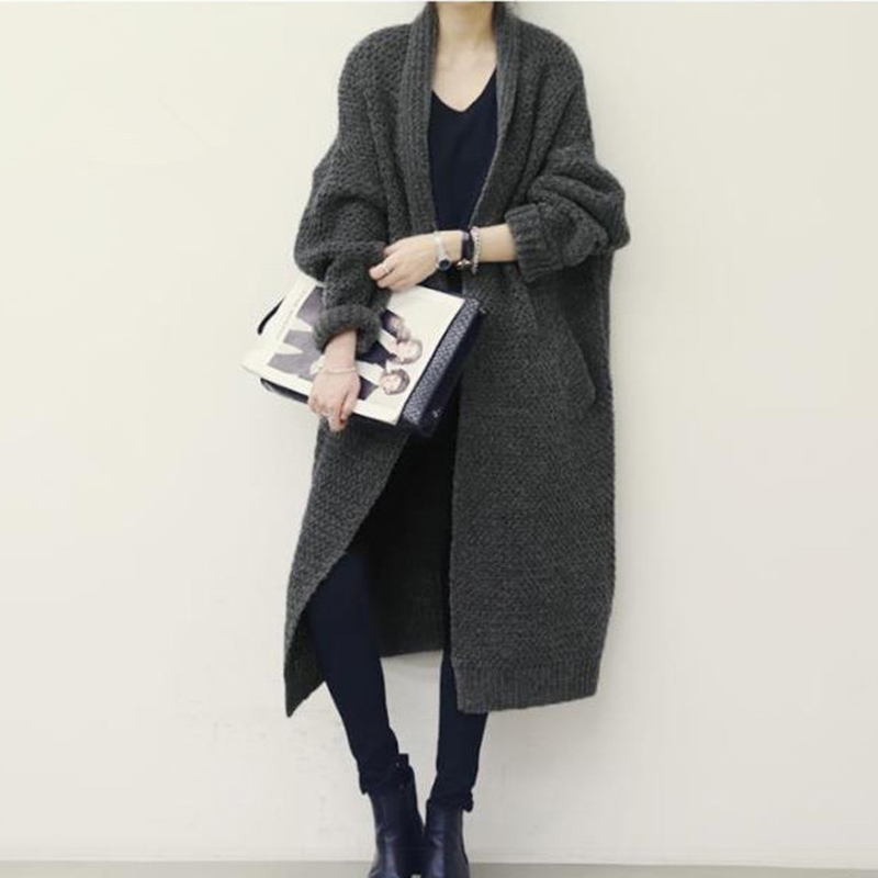 Sweater Coat Knitted Thickened Long Cardigan Coats Loose Pull Femme ...