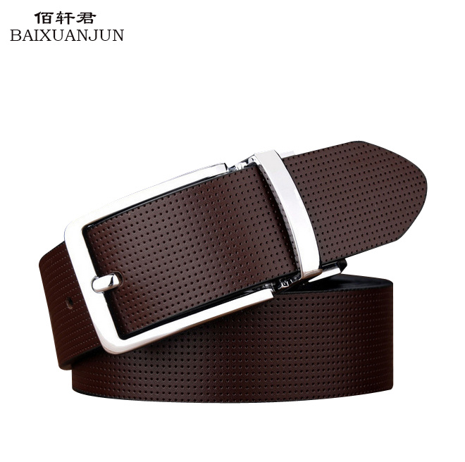 [BAIXUANJUN]2016 new men's double-sided leather belt pure leather pin buckle belt high quality luxury brand jeans waistband belt(China (Mainland))
