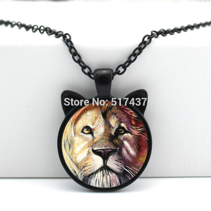 2016 New Glass Lion Pendant Lion Necklace Glass Jewelry Glass Cabochon Necklace Pendant N-00626(China (Mainland))