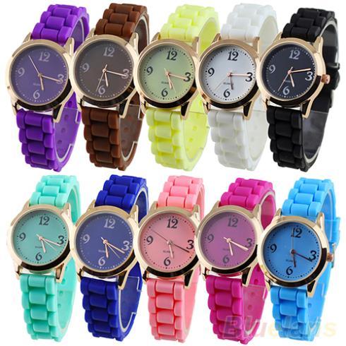 2014 Unisex Fashion Colorful Geneva Silicone Band Jelly Gel Quartz Analog Wrist Watch 1LM9