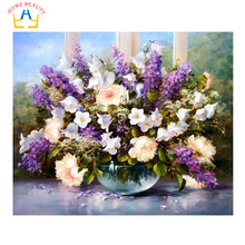 HOME BEAUTY diy digital oil painting by numbers wall home decoration paint unique gift craft picture handwork flowers G053(China (Mainland))