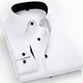 Plus Size 4XL 5XL 6XL 7XL 8XL Men Dress Shirts Long Sleeve Solid White Color Man