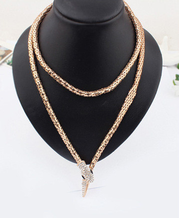 Free shipping accessoires homme two layers sex wild girl gold / silver plated flexible snake necklace(China (Mainland))