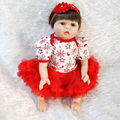 22 Silicone reborn babies dolls for girls toys lifelike newborn baby with red clothes boneca brinquedo