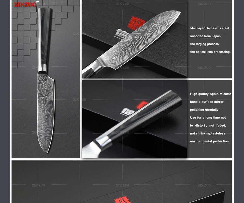 "Buy NEW 5""Japanese chef knife 73 layers VG10 Damascus steel kitchen knife santoku knife double forge Micarta handle FREE SHIPPING cheap"
