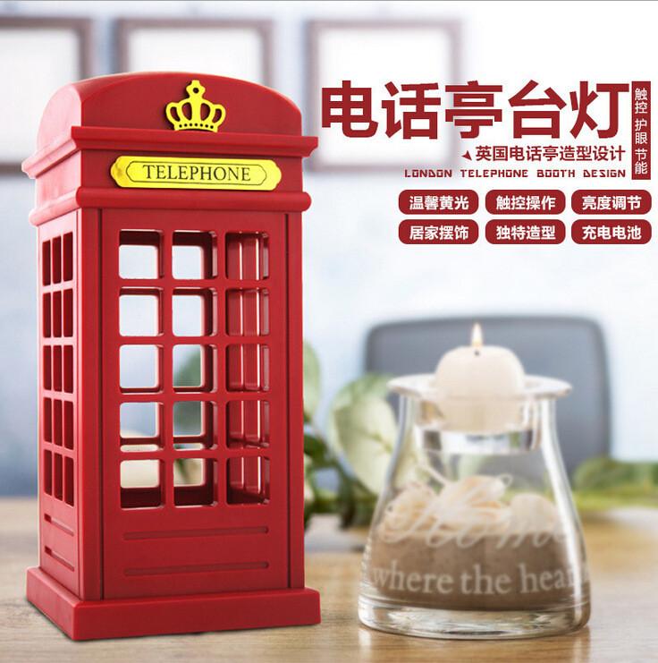 500pcs/lot London phone booth retro design LED Nightlight / USB charging ambient lighting Free shipping(China (Mainland))