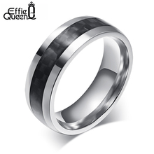 DALI Hot-sale Punk Style Finger Ring of Male Gift New Fashion Carbon Fiber Titanium Steel Men's Ring WTR88(China (Mainland))