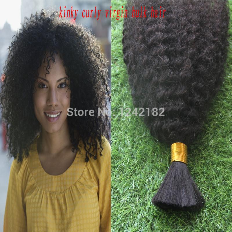 """100% Human Remy Hair Bulk! Kinky Curly Hair Bulk Hair For Braiding 10-30"""" Brazilian Kinky Curly No Weft no attachment 100G"""