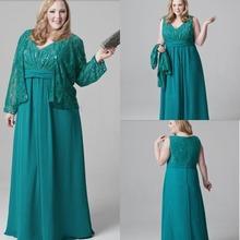 Taille Plus vert émeraude mère de la mariée robes en mousseline dentelle parti robe du soir pour maman avec la veste col V étage longueur(China (Mainland))