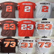 2015 neue #2 Johnny Manziel Jersey #23 Joe Haden Jersey #73 Joe Thomas Shirt Elite Fußball Jersey Größe: M ~ XXXL Freies Verschiffen(China (Mainland))