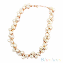Women s Fashion Shiny Alloy Golden Rhinestone Faux Pearl Beads Necklace Jewelry 1D35
