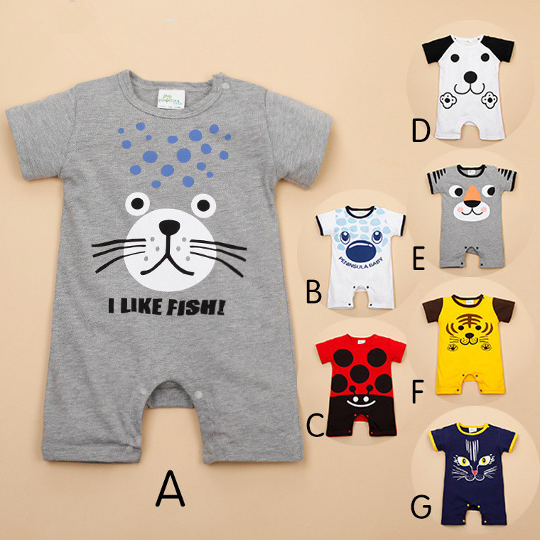2015 Fashion infant cartoon tiger bear short-sleeved rompers cotton jumpers baby boys girls soft clothes infant wear J150609(China (Mainland))