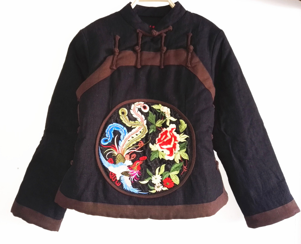 Chinoiserie Women's Cotton-Padded Jacket retro frog embroidery Cotton Coat Female Slim Ladies Jackets Coats Gift 2 colors