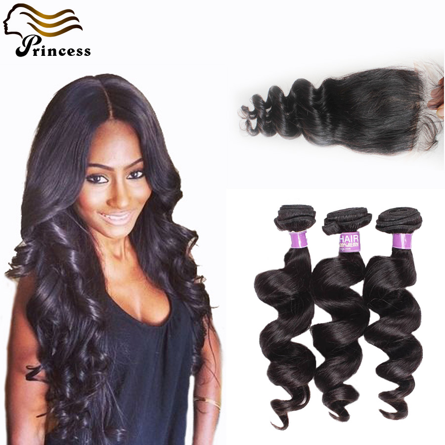 7A Human Hair With Closure Malaysian Loose Wave With Closure 3 pcs Lot Virgin Hair Bundles With Lace Closure Free Middle 3 Part<br><br>Aliexpress