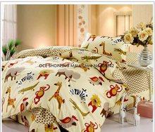 100% cotton cartoon animals printed 3pcs bedding set bed linen bed clothes duvet cover set #50-1(China (Mainland))