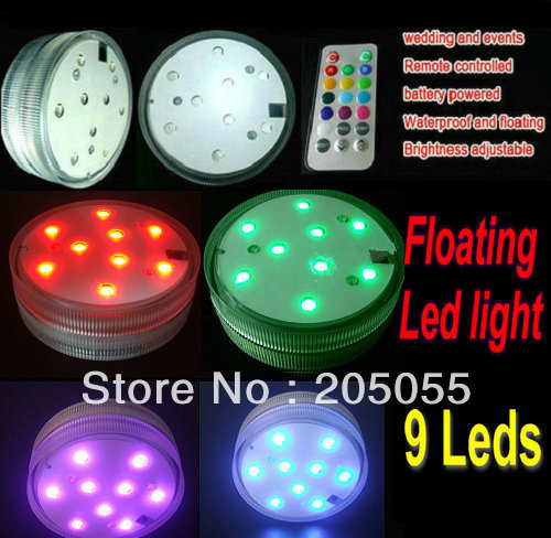 remote controled 9led Floating light battery operated SMD bulb Flat surface  w/controller waterproof wedding/valentine Multicolor