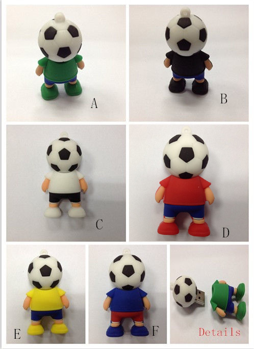Manufacturers wholesale price 2014 New Cartoon Football players 4-32GB usb 2.0 memory flash stick pen drive(China (Mainland))