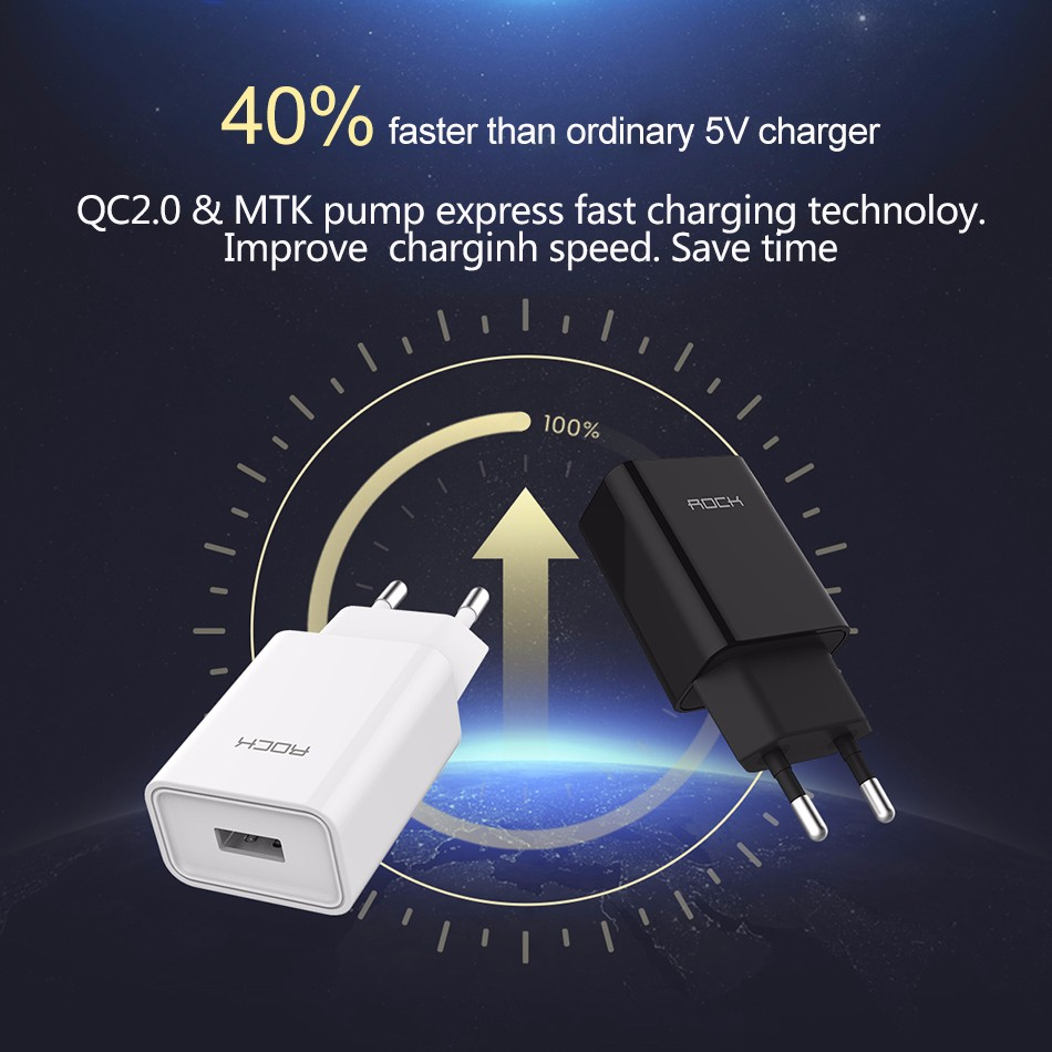 ROCK Quick Charge 2.0 Phone Charger MTK Quick Charger 2 in 1 Technology 5V2A 9V2A 12V1.5A Universal Fast wall charger