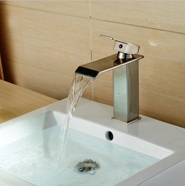 Bathroom Brushed Nickel Deck Mounted Basin Faucet Single Handle Sink Mixer Tap Cock HOt Sale(China (Mainland))