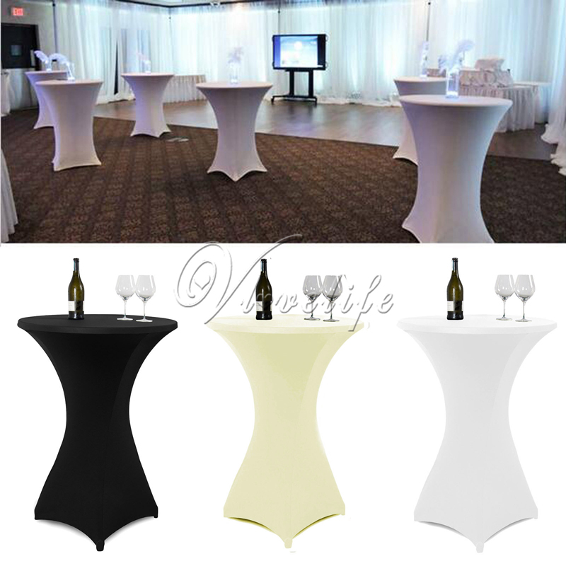 10Pcs/Lot 80cm White/Black/Ivory Cocktail Table Cover Lycra Spandex Stretch Tablecloth For Bar Bistro Wedding Party Event Decor(China (Mainland))