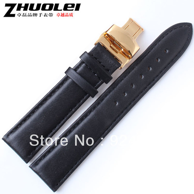 18,19,20,22mm Genuine leather watchband high quality butterfly buckle watch band cowhide watch strap free shipping 401