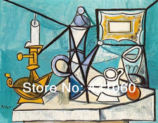 Pablo Picasso painting,high qulity,Still Life with Lamp,abstract,25 x 20 inch,hand-painted,decorative painting,home decoration(China (Mainland))