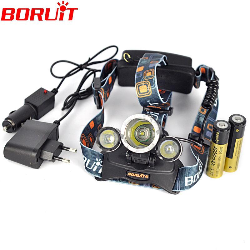 Boruit Linterna frontal LED Headlamp 5000 Lumens Head lamp T6 3 Headlight Torch edc 18650 Rechargeable Battery Charger - YIHOSIN Lighting store