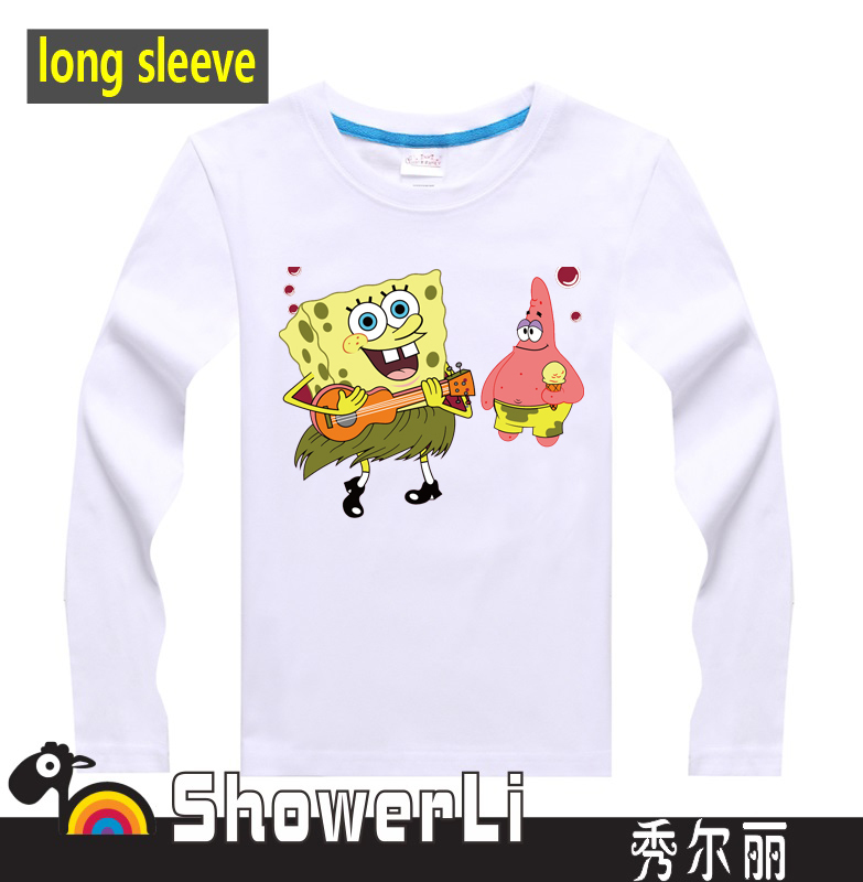Cotton long sleeve children t shirts, cute cartoon t-shirt, boys girls t-shirt figure kids wear pop baby SpongeBob