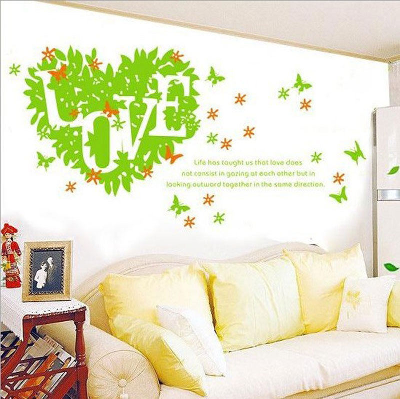 Fresh Green DIY Home Modern Living Room Bedroom Decor Love Removable PVC Wall Stickers Adesivo De Parede Free Shipping(China (Mainland))