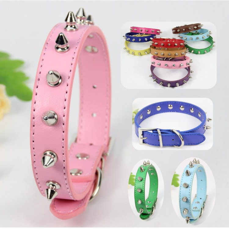 (12 piece / lot ) Designer perro Collar For Small Large Big Dog Pink Blue Green Purple Red Studded Dog collar Spiked Dog collar(China (Mainland))