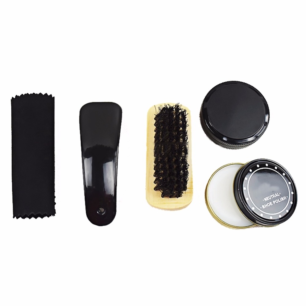 1 Set Convenient And Useful Black And Neutral Shoe Shine Polish Cleaning Brushes Set Kit Withl Case(China (Mainland))