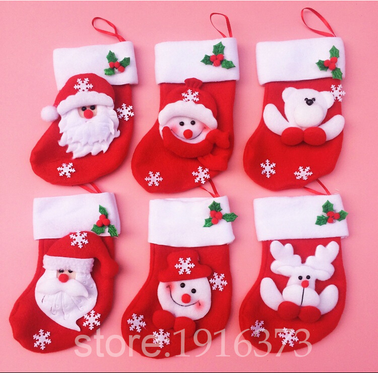 Christams Stockings 1 New Year Candy Bag Stocking Christmas Decoration Gifts Santa Claus Socks Ornament - LINSON store