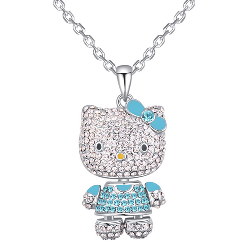 Cat Pendant Necklace Chain Women Valentine Gift Made With Czech Preciosa Crystal Jewelry For Girls 3 Options(China (Mainland))