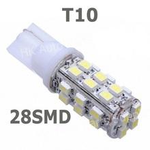 NEW  wholesale 10pcs T10 28smd 28led 1210/3528 Car High Power 168 194 W5W White 28 SMD LED Wedge Light Bulb Lamp 12V(China (Mainland))