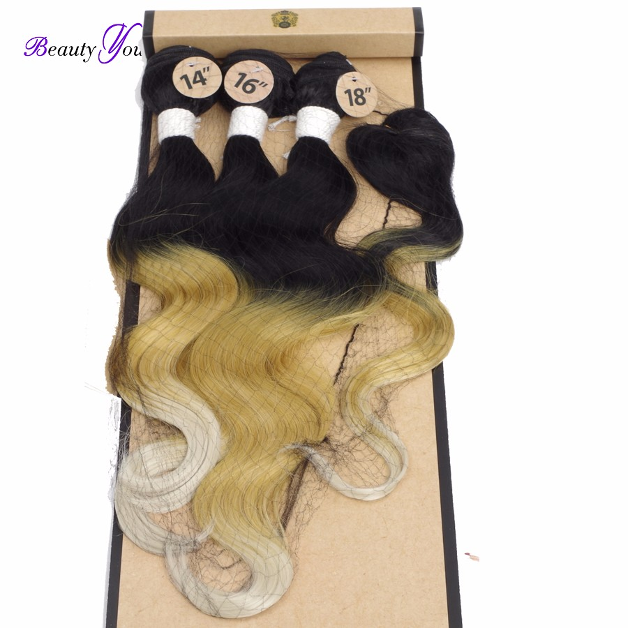 4pcs Ombre Synthetic Hair Weave Hair Extensions Ombre Hair Body Weave 14″ 16″ 18″ With 14″ Top Closure T 1B/27/613