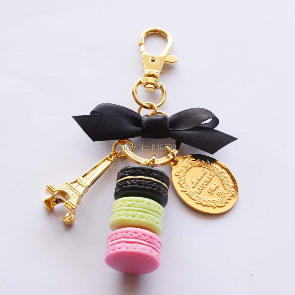 Big size laduree macaron key chain-black.JPG