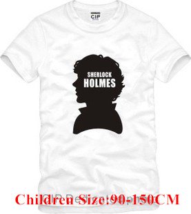 Free Shipping Brand Sherlock Cheap Round Neck High Quality Boy Girl Children Most Discount T Shirt Tee Clothes Do Mix Order(China (Mainland))