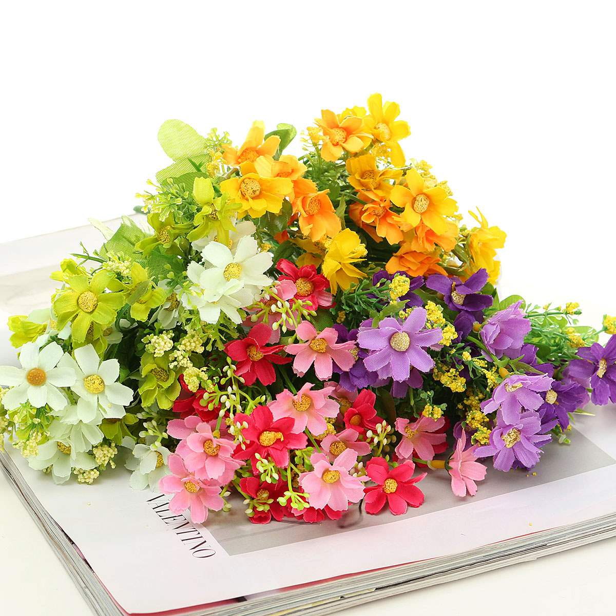Hot Sale MultiColor 28 Heads Artificial Bunch Fake Silk Daisy Flower Hydrangea Wedding Party Bouquet Bridal Home Decor Floral(China (Mainland))