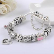 925 Silver Bead Charm Love Clover Beads With Heart Pendant Fit Pandora Women Snake Bracelet Bangle DIY Jewelry SL1501(China (Mainland))