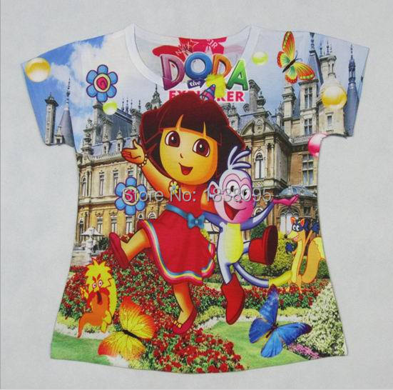 2 To 6Years 3 Style Dora New Children Girls Tops Tees T Shirt Cartoon Kids Girl Tops Tees Shirts For Summer Girls Short Clothing(China (Mainland))