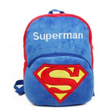 C2 2015 HOT superman cartoon backpack kids bookbag boy school bagfor kindergarten high quality plush children birthday gift(China (Mainland))