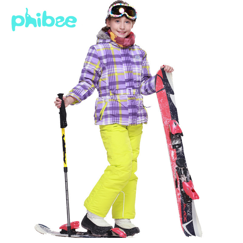 PHIBEE Children Kids Winter Outdoor Ski Suit Girls Waterproof Jacket Coat Bib Pants Mountain Skiing Snowboard Snow Clothing Set(China (Mainland))