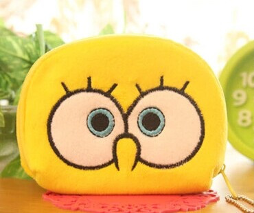 Yellow Sponge BOB Kawaii Half-Round 11CM Plush Pocket Coin Purse Wallet Pouch Case BAG Women Pouch Beauty Holder BAG Handbag(China (Mainland))