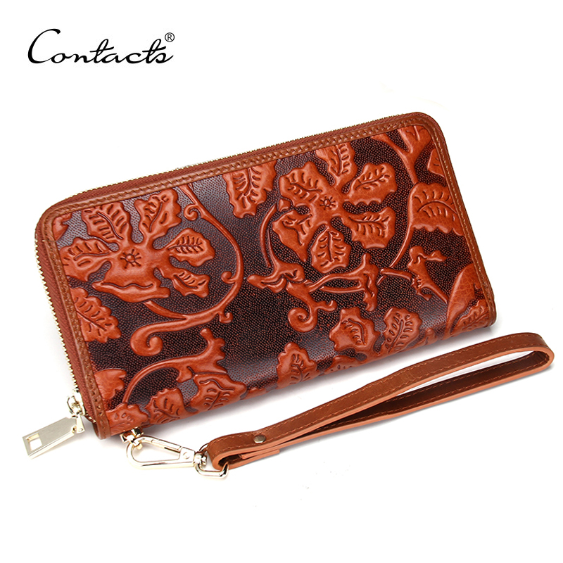 New Fashion Vintage Women Men Genuine Leather Wallets Long Clutch Embossing Big Wallet Retro Purse Money Clips Card & ID Holder