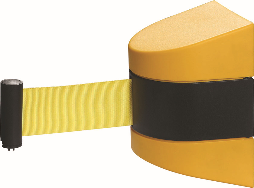 Max 10m belt length wall mounted retractable belt barrier with yellow / black striped caution belt for separated region(China (Mainland))