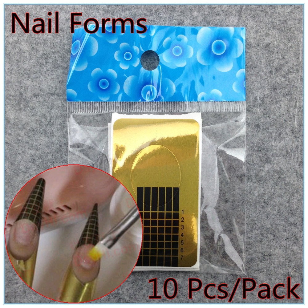 10 x Professional Nail Forms Acrylic Nails Gel Nails Extension Nail Sticker + Free Shipping (NR-WS36)