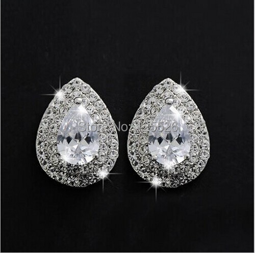 celebrity Style Brand Jewelry Pear Cut simulated diamond Cz 10KT Gold Filled Stud Earrings Gift(China (Mainland))