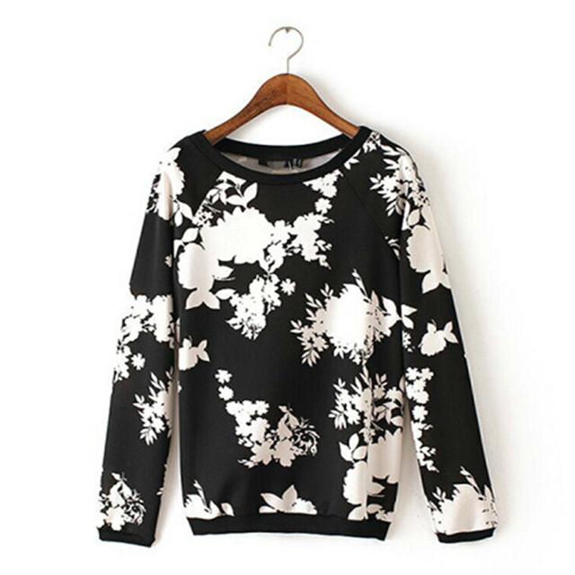 Женщины урожай цветочные печати пуловеры О-Образным Вырезом с длинным рукавом Кофты ...