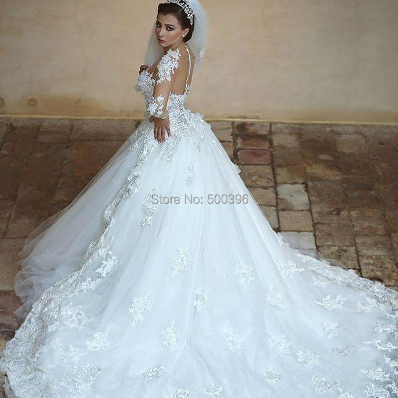 Said Mhamad Sheer Long Sleeves Wedding Dress 2016 Lace Appliques Ball Gown With Long Train