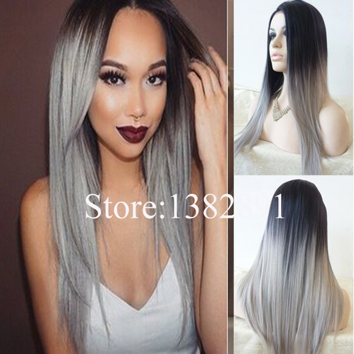 Natural Straight Grey Ombre Wig Two Tone Black&Grey Synthic Lace Front Wig Glueless Heat Resistant Hair For African Black Women(China (Mainland))